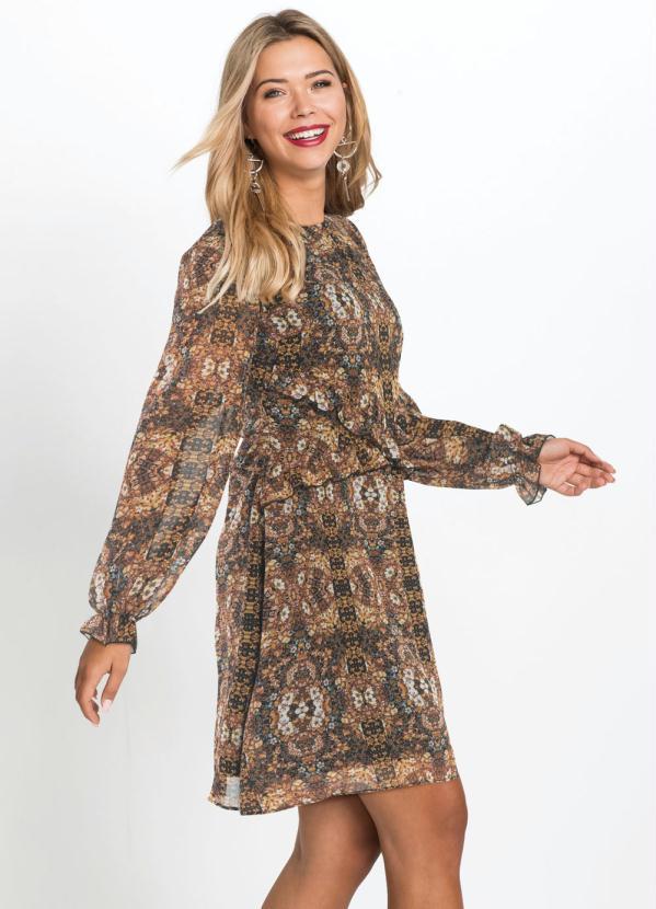 Vestido com Babados (Floral Marrom)