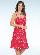 Vestido com Botões Poá Vermelho