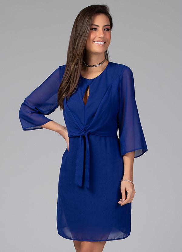 Vestido com Decote Gota e Amarração (Azul)