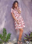 Vestido com Decote Transpassado Floral Rosa