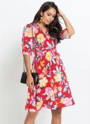 Vestido com Decote Transpassado Floral Vermelho