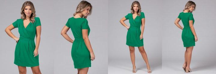 Vestido com Decote Transpassado Verde