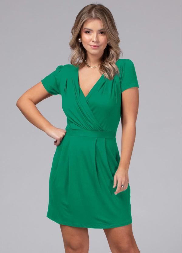 Vestido com Decote Transpassado (Verde)