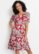 Vestido com Detalhe Frontal Floral Vermelho