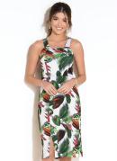 Vestido com Fenda Frontal Folhagens Verde