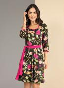 Vestido com Frisos Contrastantes Floral Preto
