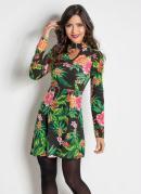 Vestido com Gola Choker Floral e Folhagem