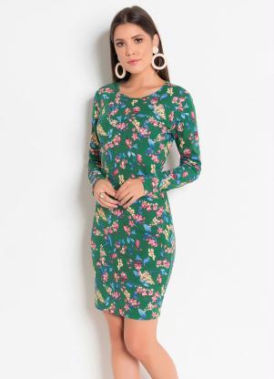 Vestido com Mangas Longas e Tubinho (Floral)