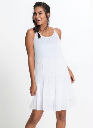 Vestido com Recortes e Laise (Branco)