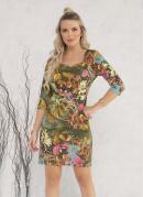Vestido com Recortes Floral Verde