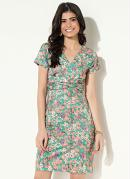 Vestido com Torção Floral Verde Quintess