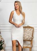Vestido Curto Branco com Barra Assimétrica