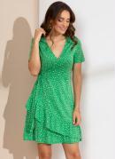 Vestido Curto com Decote Transpassado Poá Verde
