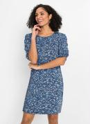 Vestido Curto com Mangas Drapeadas Floral Azul