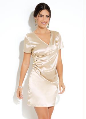 113a662fc3 Vestido Curto Dourado com Franzido - SouLojista