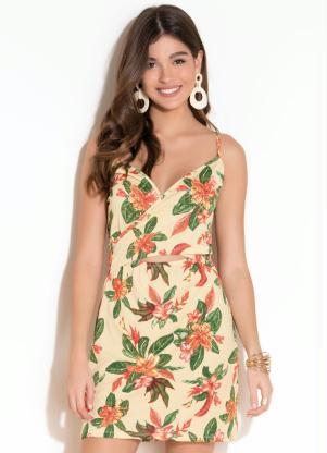 Vestido Curto e Decote Transpassado (Floral)