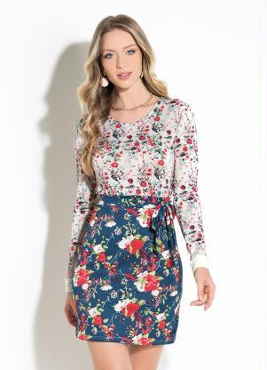 Vestido Curto (Floral Azul) com Faixa
