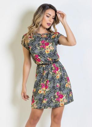 d3e0515fe Vestido Curto Floral com Elástico na Cintura - Quintess