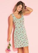 Vestido Curto Floral Verde com Alças Largas
