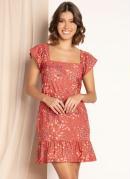 Vestido Curto Floral Vermelho Decote Quadrado
