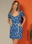 Vestido Curto Florzinha Azul com Bolso