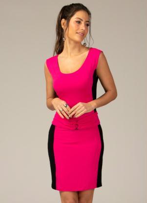 Vestido Curto (Pink e Marinho) com Argola