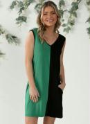 Vestido Curto Verde e Preto com Amarração Costas