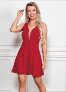 Vestido Curto Vermelho com Tule Entrebusto