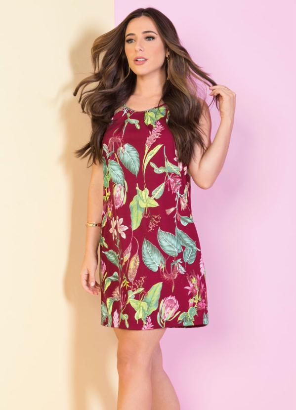 Vestido de Alças (Floral) Evasê