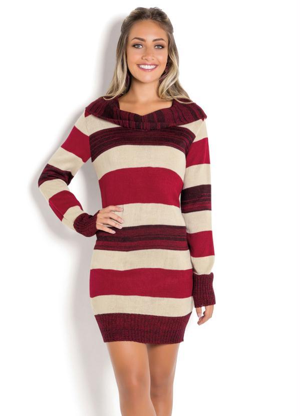 2d4dd89a7 Vestido de Lã Manga Longa Listrado Vermelho - SouLojista