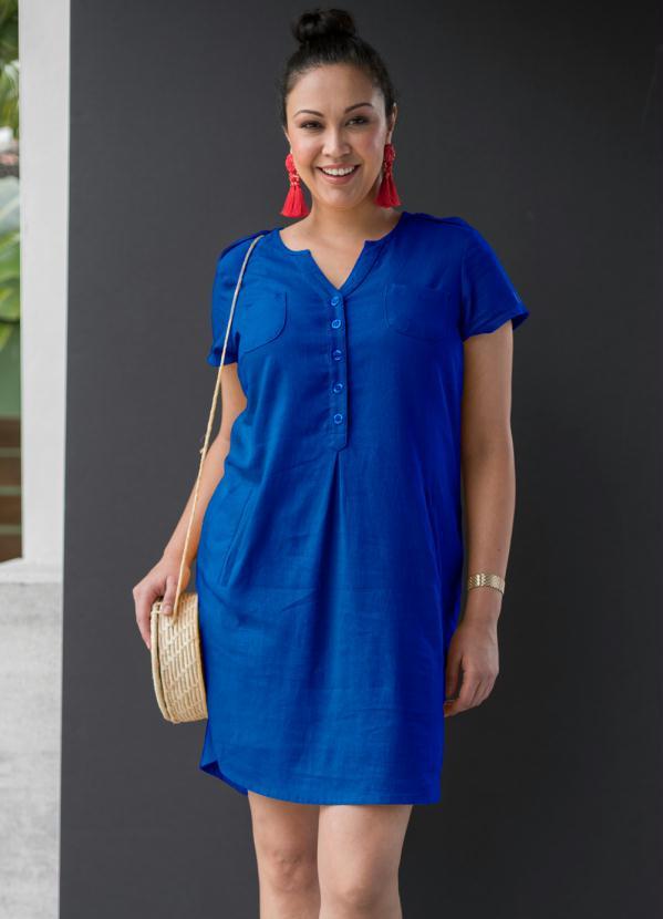 Vestido de Linho (Azul Escuro)