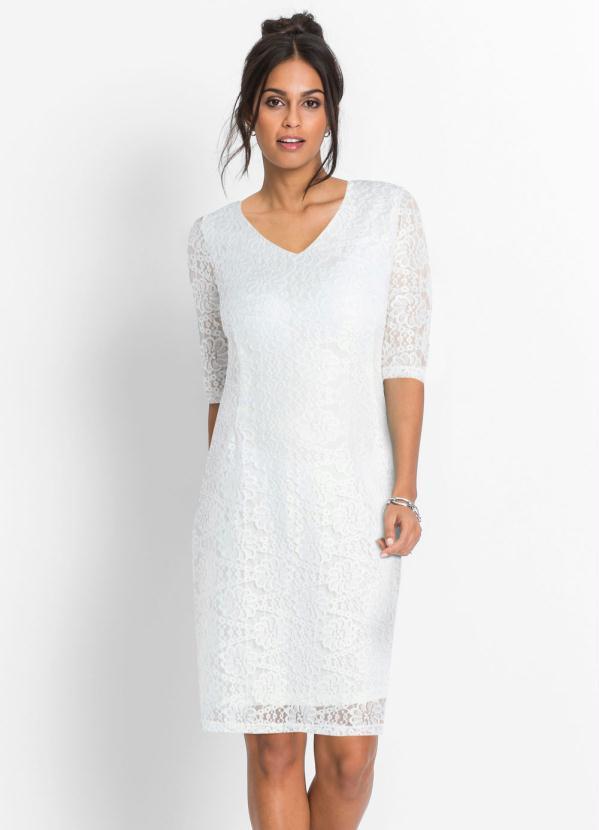 Vestido de Renda com Fenda na Barra (Branco)