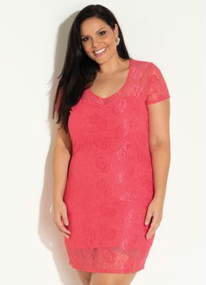 Vestido de Renda (Coral) Plus Size