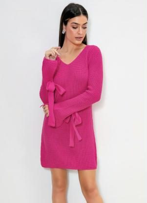 Vestido de Tricô com Amarração (Rosa Pink)