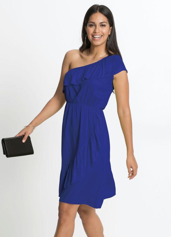 Vestido de um Ombro Só com Babados (Azul Royal)