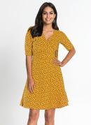 Vestido Decote Transpassado Poá Amarelo