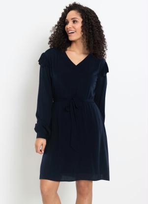 Vestido Decote V com Amarração (Azul Marinho)