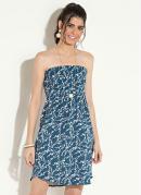 Vestido Drapeado Floral Azul Quintess