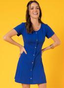 Vestido Evasê Azul com Botões Decorativos