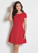Vestido Evasê com Estampa Poá Vermelho