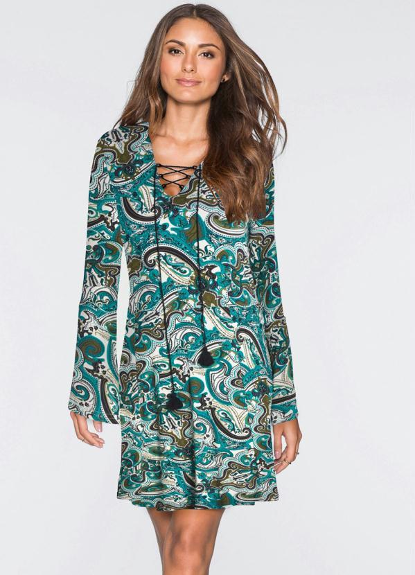 Vestido Evasê Estampa Paisley (Azul)