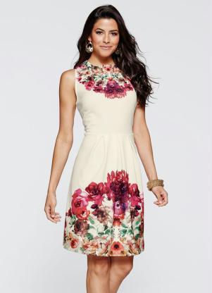 Vestido Evasê Estampado (Floral Off White)