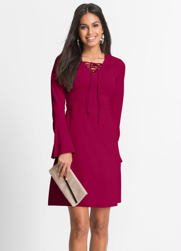 Vestido Evasê Mangas Flare (Pink)
