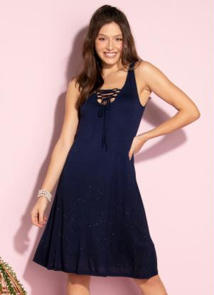 Vestido Evasê (Marinho) com Glitter na Barra