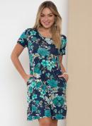 Vestido Floral Azul com Bolsos Laterais