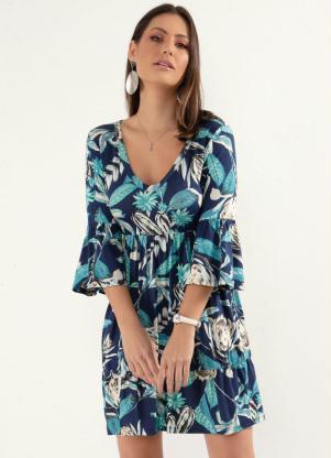 Vestido (Floral Azul) com Franzidos