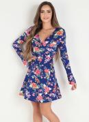 Vestido Floral Azul Transpassado