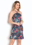 Vestido Floral com Decote Halter