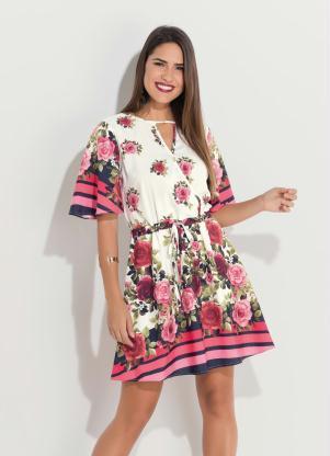 Vestido (Floral) com Decote Vazado