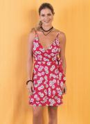 Vestido Floral com Transpasse Frontal